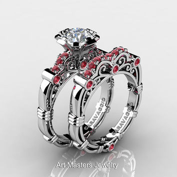 Art Masters Caravaggio 10K White Gold 1.0 Ct White Sapphire Rubies Engagement Ring Wedding Band Set R623S-10KWGRWS