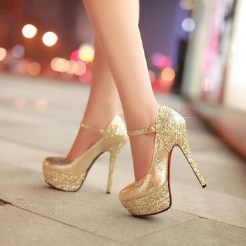 Charming Rhinestone Stiletto Heel Round Toe Ankle Strap High Heels Party Shoes