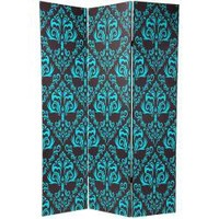 Canvas 6-foot Double-sided Blue Damask Room Divider (China) | Overstock.com