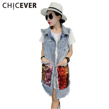Ripped Denim Jacket Female Vest Coat Waistcoat for Women Sequins Sleeveless Long Vests Jean Jackets