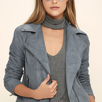 Catch You on the Flip Side Slate Blue Suede Moto Jacket