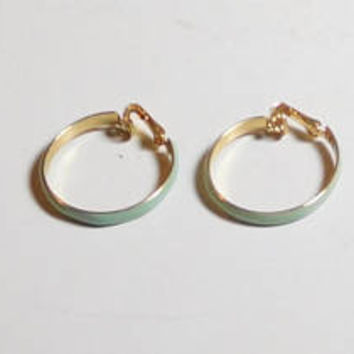Light Green Clip On Hoop Earrings, Seafoam Green, Gold Edges, Gold Tone, Enameled, Never Worn, Vintage 70s 80s, Costume Jewelry