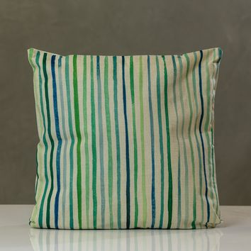 "Lines Pillow - Green Combination 18"" x 18"""