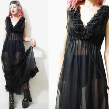 60s Vintage SHEER BLACK Lingerie Dress Double Layered Origami Ruffle Long Maxi Babydoll Grunge Goth 1960s vtg M L