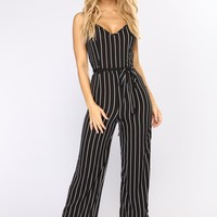Let's Go Away Stripe Jumpsuit - Black/White