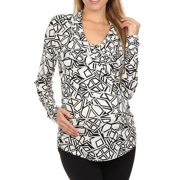 Geometric Print Surplice Neck Nursing Top