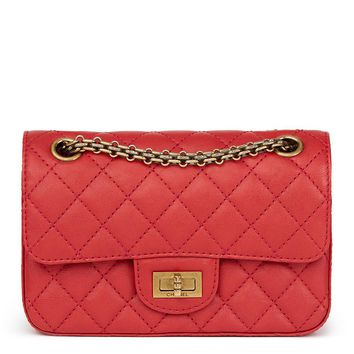 CHANEL RED QUILTED CALFSKIN LEATHER 2.55 REISSUE 224 DOUBLE FLAP BAG HB1762
