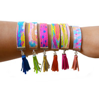 Leather Bracelet in Rainbow Abstract Art Patterns, Colorful Stacking Bracelet, Cuff Tassel Bracelet | Boo and Boo Factory - Handmade Leather Jewelry