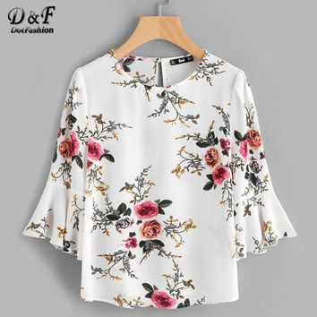Buttoned Keyhole Back Fluted Sleeve Blouse White Floral Round Neck Tunic Top Ruffle Button Ladies Summer Blouse