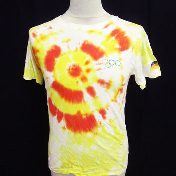 Retro Orange Yellow Germany Olympics Tie Dye T Shirt XL