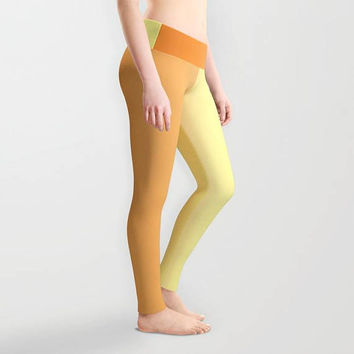 Leggings - Orange and Yellow Leggings - Yoga Pants - Yoga Leggings - Tights - Made to Order