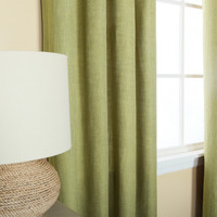 Sage Striped Heavyweight Textured Faux Linen Grommet Top Curtain Pair 84&quot