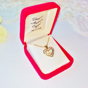 "New Genuine Austrian Crystal & Pearl Gold Heart Pendant Necklace Vintage NIB Red Velvet Gift Box Made n India 18"" Chain Mint Costume Jewelry"