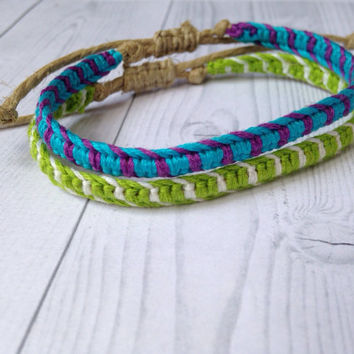 Monsters Inc Disney Inspired Macrame Friendship Bracelets- Sulley & Mike
