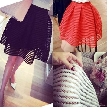 CREYUG3 sexy skirt womens high waist striped hollow-out fluffy skirts ladies maxi midi-long tutu skirt saias-N6 = 1946592964