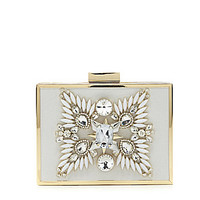 Kate Landry Box Broach Front Frame Clutch - White