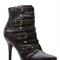 Black All Buckled Pointed Toe Single Sole Booties