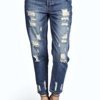 Sara Mid Stone Wash Distressed Boyfriend Jeans
