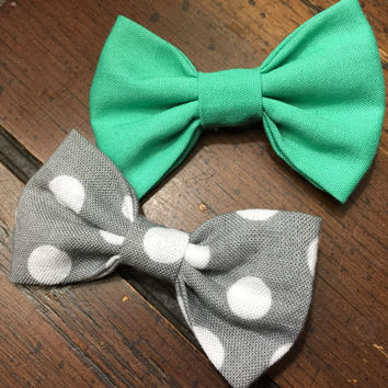 Mint Green / Gray Polka Dot Baby Girl Hair Bows / Clips