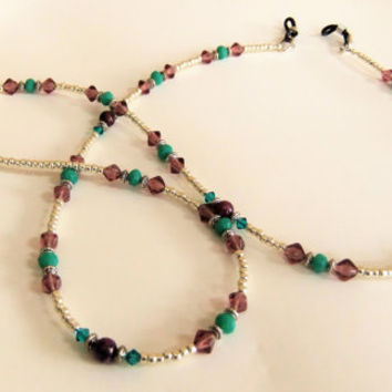 Purple Crazy Lace Agate Stone Eyeglass Beaded Chain Reading Glasses Sunglasses Swarovski Crystals Teal Crystals Purple Czech Gold Seed Beads