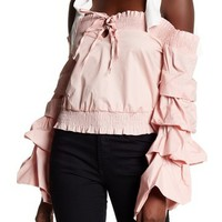 Tea & Cup | Off-the-Shoulder Tiered Bell Sleeve Cropped Shirt | Nordstrom Rack