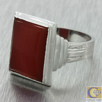 1920s Antique Art Deco Men's 10k Solid White Gold 18mm Square Carnelian Ring