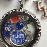 Kentucky Wildcats Inspired Necklace Memory Locket W/Chain Wildcats Necklace