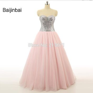 Baijinbai New Pink Sweetheart Lace Back Wedding Dresses 2017 Corset Beading Sequined Tulle Tiered Vestido De Noiva Bridal Dress
