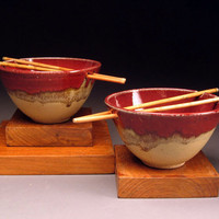 Red Gold Rice Bowls with Chopsticks Generous Size
