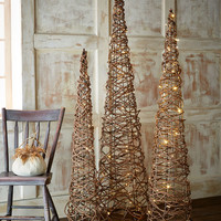 Lighted Grapevine Cone Trees, 3-Piece Set