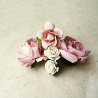 Blush Flower Bobby Pins Set of 5. Blush Pink and White Rose Paper Flower Hair Pins for Rustic Garden Wedding, Handmade Hair Accessories