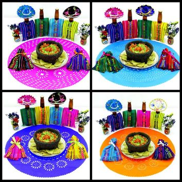 4 Papel picado place mats, Mexican Party decorations, Cinco de Mayo Table runner, Mexican Party supplies, Fiesta Decoration, Mexican decor