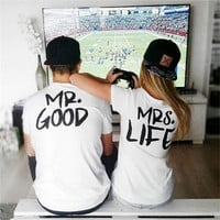 """ Mr Good & Mrs Life "" Fashion 2016 Trending Couple Fashion Women White Top Shirt T-shirt _ 3552"