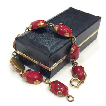 Czech Glass Bracelet, Oval Red Glass Cabochons, Gilded Brass Links, Geometric Art Deco Jewelry, 1930s Vintage Antique Jewelry