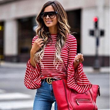 Striped Long Trumpet Sleeves Regular Blouse