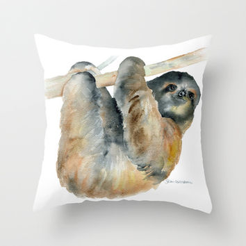 Sloth Throw Pillow by Susan Windsor