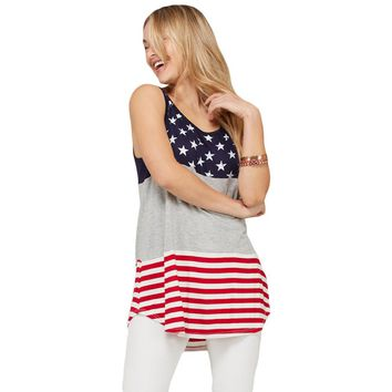 Gray Sleeveless Stars Stripes USA Tunic Top
