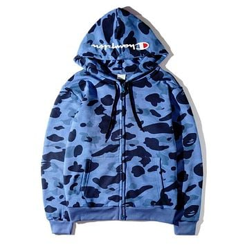 Champion X Bape Popular Camouflage Print Hoodies Zipper Casual Jacket Coat Sweater Top Blue