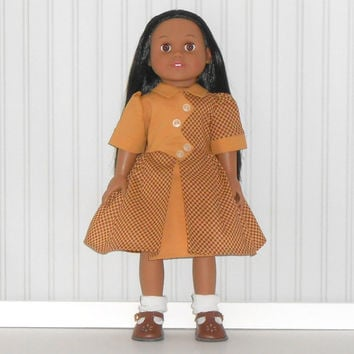 American Girl Doll Clothes Gold and Brown Check Dress 1940 Vintage Inspired with White Slip fits 18 inch dolls