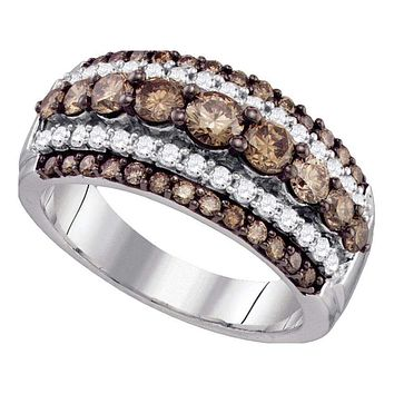 10kt White Gold Women's Round Cognac-brown Color Enhanced Diamond Fancy Cocktail Ring 1-1/2 Cttw - FREE Shipping (US/CAN)