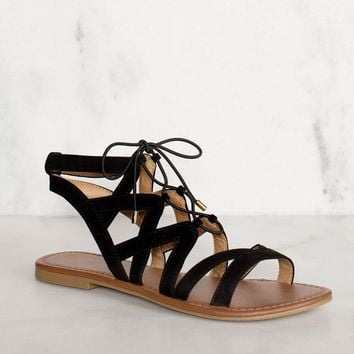 Quinn Lace Up Sandals - Black