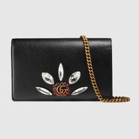 Gucci Leather mini chain bag with Double G and crystals