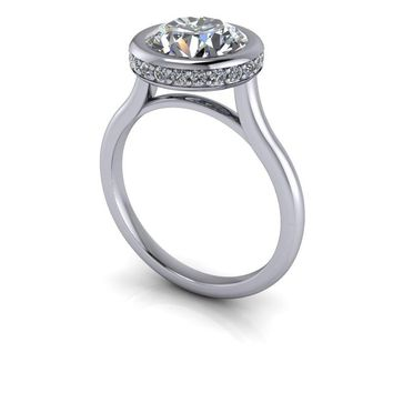 Tension Set Ring - Partial Bezel Diamond Engagement Ring Setting - Round Moissanite Ring
