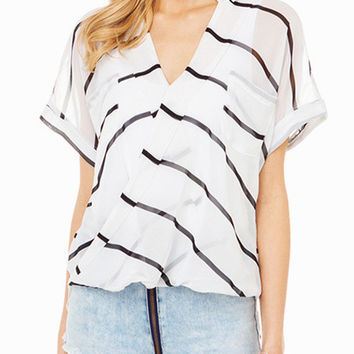 White Stripe Asymmetrical Wrap Long Back Top