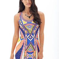 LOVE 21 Tribal Print Bodycon Dress Yellow/Blue