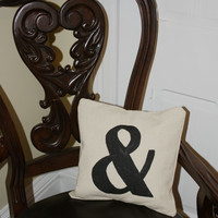 """The """"&""""  And, Pillow Cover, Hand painted in Black on Creamy canvas"""