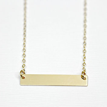 Gold Bar Necklace / Personalized Bar Necklace / Gold Initial Bar Necklace / Horizontal Bar Necklace