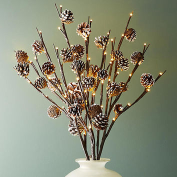 Glowing Pinecone Bough Set
