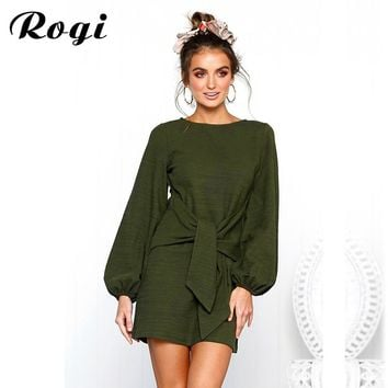 Rogi 2018 Autumn Long Sleeve Dress Women Casual O-Neck Mini Knitted Dress Front Tie Bow Bandage Dress Ladies Party Dresses S-XL