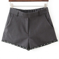 Plain Elastic Waist Beading Raw Edge Loose Shorts